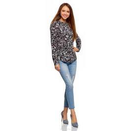 Блузка женская oodji Collection, цвет: черный, кремовый. 21411063-2B/14897/2930F. Размер 40 (46-170)