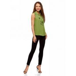 Блузка женская oodji Collection, цвет: зеленый. 21411108/36215/6200N. Размер 44 (50-170)