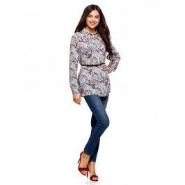 Блузка женская oodji Collection, цвет: кремовый, синий. 21412057-4B/24681/3075F. Размер 38-170 (44-170)