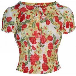 Блузка женская oodji Collection, цвет: кремовый, красный. 21408045M/16398/3045F. Размер 38-170 (44-170)