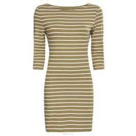 Платье oodji Ultra, цвет: хаки, кремовый. 14001071-2B/46148/6630S. Размер L (48)
