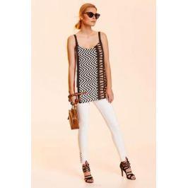 Блузка женская Top Secret, цвет: белый, черный. SBW0378BI. Размер 40 (48)