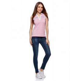 Топ женский oodji Collection, цвет: белый, розовый. 29305001/47006/1041S. Размер XXL (52)