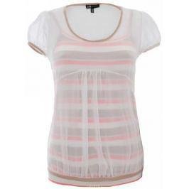 Блузка женская oodji Collection, цвет: белый, бежевый. 21411052/15036/1033S. Размер 38-164 (44-164)