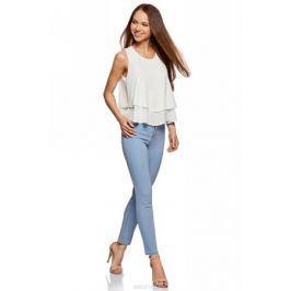 Блузка женская oodji Ultra, цвет: белый. 11411162/46796/1200N. Размер 42-170 (48-170)