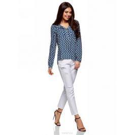 Блузка женская oodji Ultra, цвет: темно-синий, серый. 11411049-1/24681/7923K. Размер 42-170 (48-170)