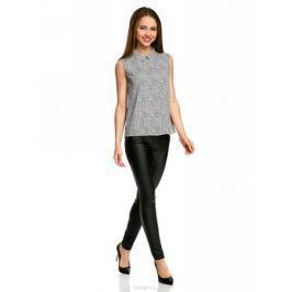 Блузка женская oodji Ultra, цвет: черный, белый. 11411084B/43414/2910F. Размер 38-170 (44-170)