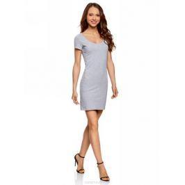 Платье oodji Ultra, цвет: светло-серый, черный. 14001182-2/47420/2029Z. Размер M (46)