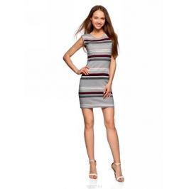 Платье oodji Ultra, цвет: серый, бордовый. 14008014-2/46898/2349S. Размер L (48)