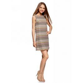 Платье oodji Ultra, цвет: коричневый, зеленый. 14005137/45509/3762E. Размер L (48)