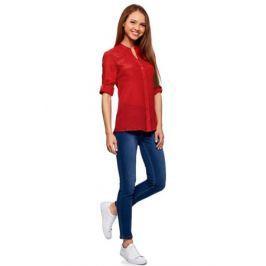 Блузка женская oodji Collection, цвет: красный. 21412068-2/19984/4500N. Размер 44-170 (50-170)