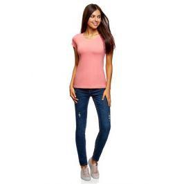 Футболка женская oodji Ultra, цвет: розовый. 14701008B/46154/4100N. Размер XL (50)