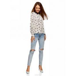 Блузка женская oodji Ultra, цвет: белый, черный. 11411181/43414/1229O. Размер 44-170 (50-170)