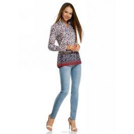 Блузка женская oodji Collection, цвет: белый, мультиколор. 21411144-5M/12836/1219E. Размер 46-170 (52-170)