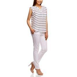 Блузка женская oodji Collection, цвет: белый, темно-синий. 21412132-1/24681/1079S. Размер 44-170 (50-170)