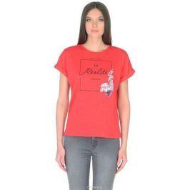 Футболка женская Baon, цвет: красный. B238024_Hibiscus. Размер XXL (52)