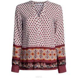 Блузка женская oodji Collection, цвет: белый, терракотовый. 21400394-3/24681/1231E. Размер 42-170 (48-170)