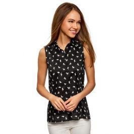 Блузка женская oodji Collection, цвет: черный, белый. 21412127-1M/12836/2912A. Размер 42-170 (48-170)
