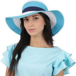 Соломенная шляпа женская Fabretti, цвет: синий. G55. Размер 56/59
