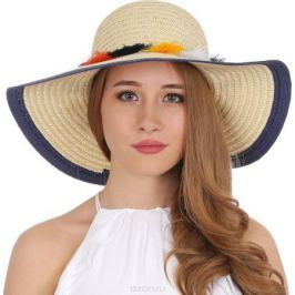 Соломенная шляпа женская Fabretti, цвет: бежевый. V26. Размер 56/59