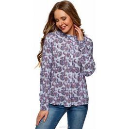 Блузка женская oodji Collection, цвет: голубой, розовый. 21411113B/26346/7041E. Размер 42-170 (48-170)