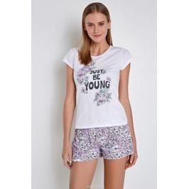 Пижама женская Infinity Lingerie Leana, цвет: белый, сиреневый. 31204280086_9000. Размер XL (50)