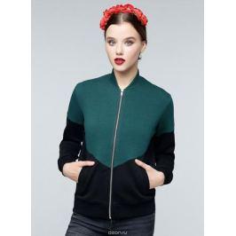 Бомбер женский Eniland Rosa, цвет: черный, зеленый. 90091703. Размер L (46)