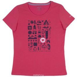 Футболка женская Columbia Camp Stamp Performance Tee, цвет: розовый. 1772231-614. Размер XS (42)