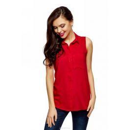Рубашка женская oodji Ultra, цвет: красный. 14911009B/26346/4500N. Размер 40 (46-170)