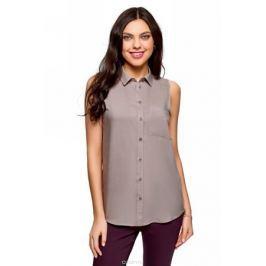 Рубашка женская oodji Ultra, цвет: серый. 14911009B/26346/2300N. Размер 38 (44-170)
