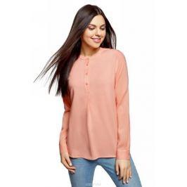 Блузка женская oodji Collection, цвет: персиковый. 21411113B/26346/5401N. Размер 44 (50-170)