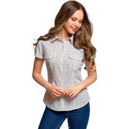 Рубашка женская oodji Ultra, цвет: белый, темно-синий. 13L02001B/45510/1279G. Размер 40 (46-170)