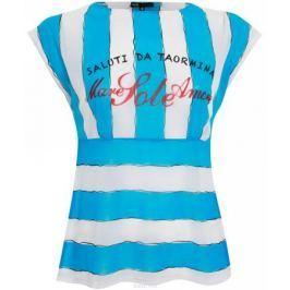 Блузка женская oodji Collection, цвет: белый, синий. 21308087M/20096/1075P. Размер 36 (42-164)