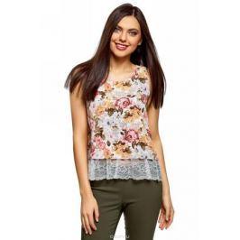 Топ женский oodji Ultra, цвет: белый, карамель, цветы. 14911012/43414/124BF. Размер 44 (50-170)