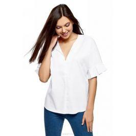 Рубашка женская oodji Ultra, цвет: белый. 13K05001/33113/1000N. Размер 34 (40-170)