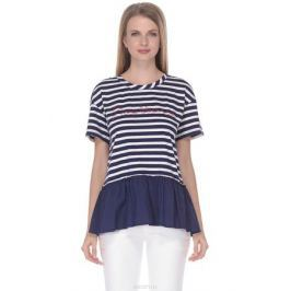 Футболка женская Baon, цвет: синий. B238016_Dark Navy Striped. Размер L (48)