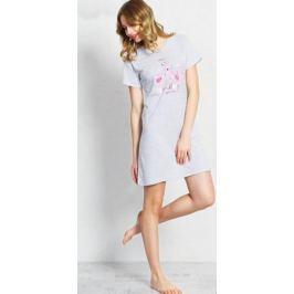 Туника домашняя женская Vienetta's Secret Коты, цвет: серый меланж. 710231 0000. Размер XL (50)
