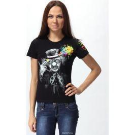 Футболка женская GoodFluroPower, цвет: черный. 35-1530. Размер XL (52)