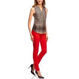 Блузка женская oodji Collection, цвет: бежевый, черный. 21400388-4/35542/3329A. Размер 46-170 (52-170)
