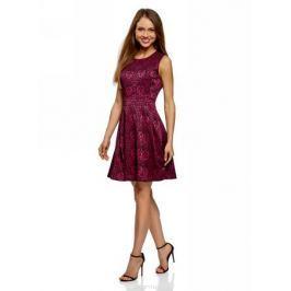 Платье oodji Ultra, цвет: фуксия, черный. 12C02004/38560/4729J. Размер 42 (48-170)
