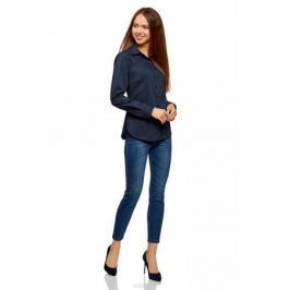 Рубашка женская oodji Ultra, цвет: темно-синий. 11403205-11/18193/7949B. Размер 38-170 (44-170)