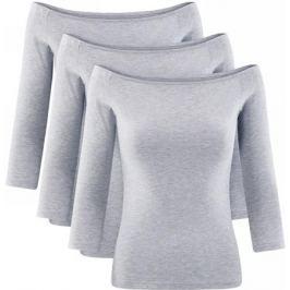 Лонгслив женский oodji Ultra, цвет: светло-серый меланж, 3 шт. 14207007T3/46867/2000M. Размер XXL (52) Женская одежда