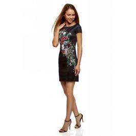 Платье oodji Ultra, цвет: черный, красный. 14001117-5/45344/2945F. Размер M (46)