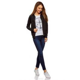 Толстовка женская oodji Ultra, цвет: черный. 16901079-2B/46173/2900N. Размер L (48) Женская одежда