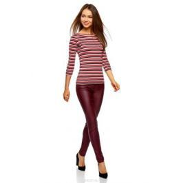 Лонгслив женский oodji Collection, цвет: бордовый, черный. 24201010B/46947/4929S. Размер XXL (52) Женская одежда