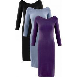 Платье oodji Ultra, цвет: черный, голубой, фиолетовый, 3 шт. 14017001T3/47420/19IIN. Размер XXS (40) Женская одежда