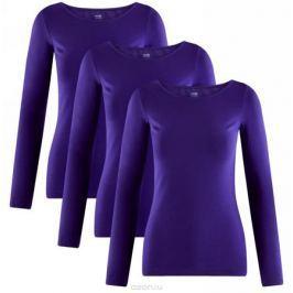 Лонгслив женский oodji Collection, цвет: синий, 3 шт. 24201007T3/46147/7500N. Размер XL (50) Женская одежда