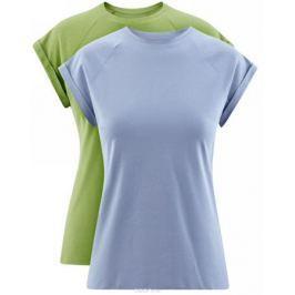 Футболка женская oodji Ultra, цвет: зеленый, голубой, 2 шт. 14707001T2/46154/25. Размер XS (42) Женская одежда