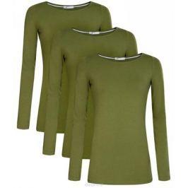 Лонгслив женский oodji Collection, цвет: темно-зеленый, 3 шт. 24201007T3/46147/6900N. Размер M (46) Женская одежда