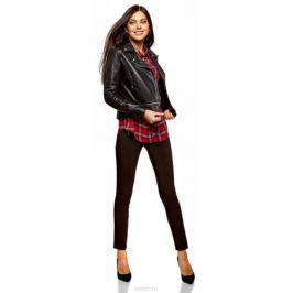 Рубашка женская oodji Ultra, цвет: красный, темно-синий. 13L01001/47352/4579C. Размер 40-170 (46-170) Женская одежда